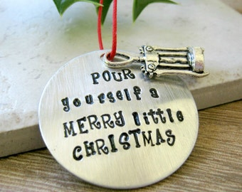 Wine Ornament, Pour Yourself a Merry Little Christmas, Wine Lover's Gift, Wine Humor, Corkscrew Ornament, Wine Bottle Tag, Christmas wine