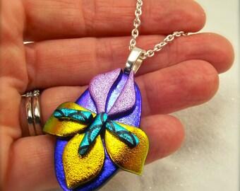 Iris flower jewelry, dichroic glass pendant, handmade, iris necklace, flower jewelry, statement necklace, glass fusion, fused glass art