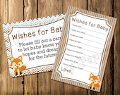 Printable Fox Baby Boy Shower Wishes for Baby Game - Instant Download
