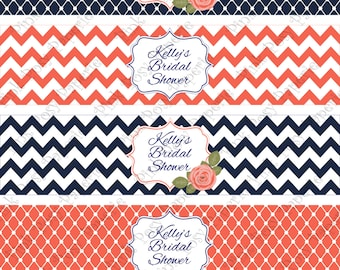 Printable Navy and Coral Bridal Shower Water Bottle Wrappers