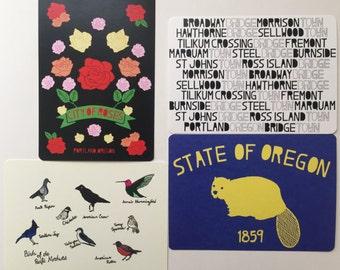 Portland, Oregon Themed Postcards - Set of 4