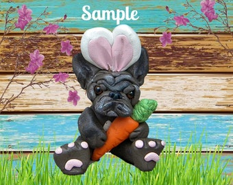 Black BRINDLE French Bulldog Easter Bunny & Carrot Sculpture OOAK Clay art by Sally's Bits of Clay