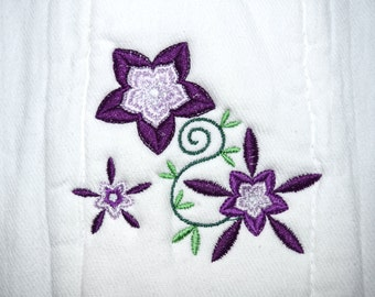 Burp Cloth Embroidered with Purple Flowers Diaper Embroidery for Baby and mom - Ready to Ship