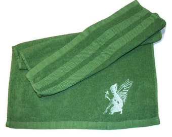 Angel Silhouette Hand Towel Embroidered Green with  Angel