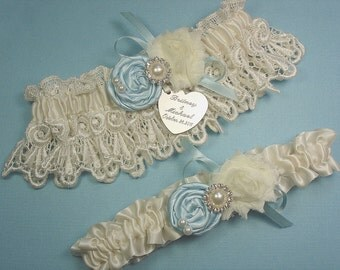 Personalized Ivory Wedding Garter Set  with Blue Handmade Roses, Pearls and Rhinestones