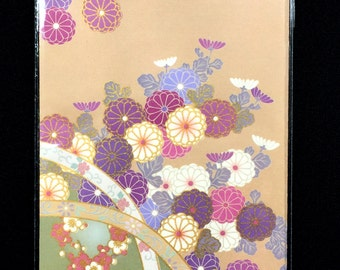 Japanese Envelopes - Traditional Japanese - Flowers- Chrysanthemums - Purple Cream Floral -  Set of 5