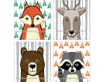 Woodland Nursery Art, Forest Animals Unframed Art Prints for Forest Animals Bedding Wall Decor