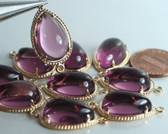 Promotion SALE 25% off Framed amethyst glass drop charm connector, earring componenet, necklace pendant, 2 pcs (item ID G51N07GP)
