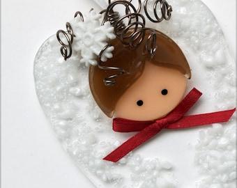 099 - Heart Angel, Angel, Glass Angel, Holiday Angel, Winter Angel, Angel Ornament, Angel Decoration, Handmade, Holiday Gift, Florence Niven