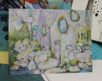 """Cottage houses note card in lavender, green, white, and  yellow """"It's a Whimsical Life""""  by Jodi ohl"""
