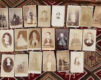 Antique Carte de Visite.  CDV.  Photo Portraits.  Lot of 21.  Perfect for Art. Projects. Great Supplies.