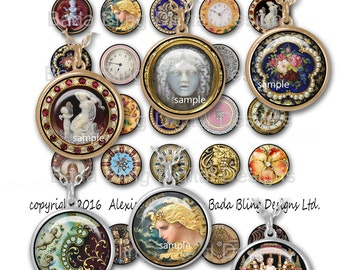 25mm circles,  Elegant Imaages for jewelry, collage sheets for pendants, INSTANT Download at Checkout, Medussa, cameos,laquer
