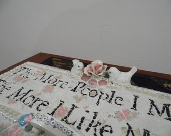 MEME shabby chic sign quote sayings dog lover sign leash holder font