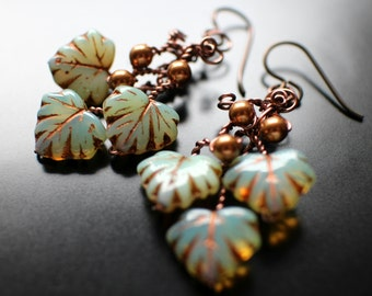 Falling Leaves Earrings, Copper Swarovski Pearl and Sage Green Translucent Czech Glass with Copper Accents , Hypoallergenic Niobium Ear Wire