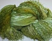 Hand dyed yarn, Biggie, Grassy Green colorway, wool, silk, nylon