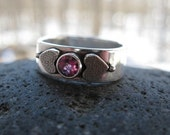 handmade silver band with rhodolite garnet . ((Love You Forever Band)) . rounded square band in sterling . oxidized/brushed finish . sz 7