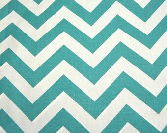 Chevron Fabric Turquoise and White Stripe Premier Prints Canvas Cotton Duck Fabric by the Yard Fat Quarter
