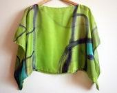 Silk blouse hand painted-Silk scarf-Wedding blouse-Scarves for her-kimono-Silk handpainted-Silk scarf-Silk green-grey-blue 43x18in