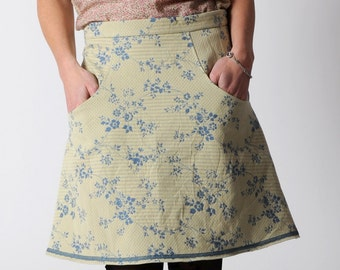 Short floral skirt, Blue and light yellow skirt with pockets in floral fabric, Womens A-line floral skirt, size UK 12