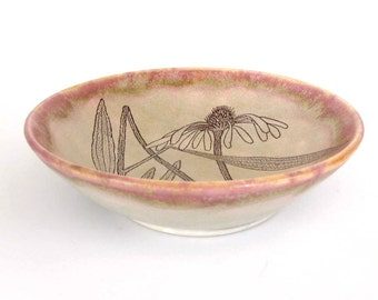 Pottery Bowl - Echinacea - Botanical- Flower- Wheel Thrown Ceramic Stoneware Pottery