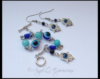 Evil Eye Protection Symbols Jewelry Set with Beaded Bracelet and Charm Earrings OOAK
