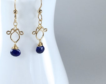 Petite Lapis Lazuli Earrings || Lapis Lazuli Petite Earrings || Lapis Lazuli Dangly Earrings || Lapis Lazuli Gold Earrings