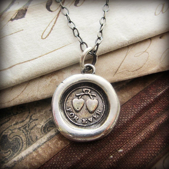 Forever Wax Seal Necklace - Tied Hearts Together for Eternity - V1240