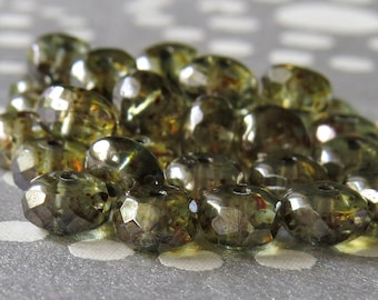 Antique Green Luster Picasso Czech Glass Bead 4x7mm Faceted Rondelle : 20 pc Green Gemstone Cut Donut