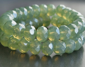Laurel Opal Czech Glass Bead Faceted 8x6mm Rondelle : 12 pc Green Rondelle