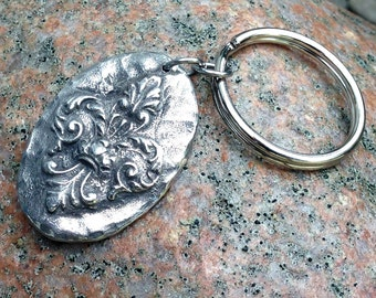 Fleur de Lis Key Chain, Rustic Hand Cast Pewter
