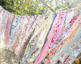 Chair Rag Tie Garland, Rag Fringe Banner Florals, Birthday, Tea Party Garland Farmhouse Wedding Photo Prop