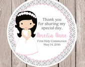PRINTABLE Girls First Holy Communion Favor Tags in Gray and Pink / Print Your Own Communion Favor Stickers / Choose Hair & Skin Color - HC02