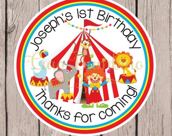 Circus Birthday Party Favor Tags or Stickers / Any Age / Under the Big Top Favor Tags with Clown, Lion, Monkey & Seal / Set of 12