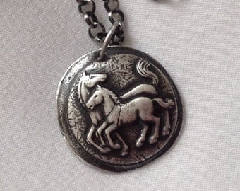 Mare and Colt Rustic Sterling Silver Necklace with Paisley