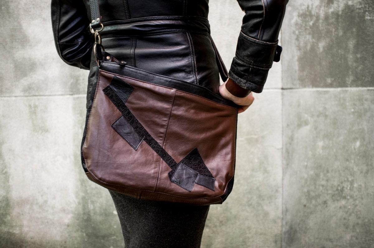 RECLAIMED Dark Brown & Black Leather Hobo Purse