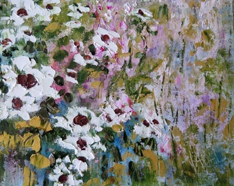Original oil painting impressionist - Abstract Floral - White Wild Flowers