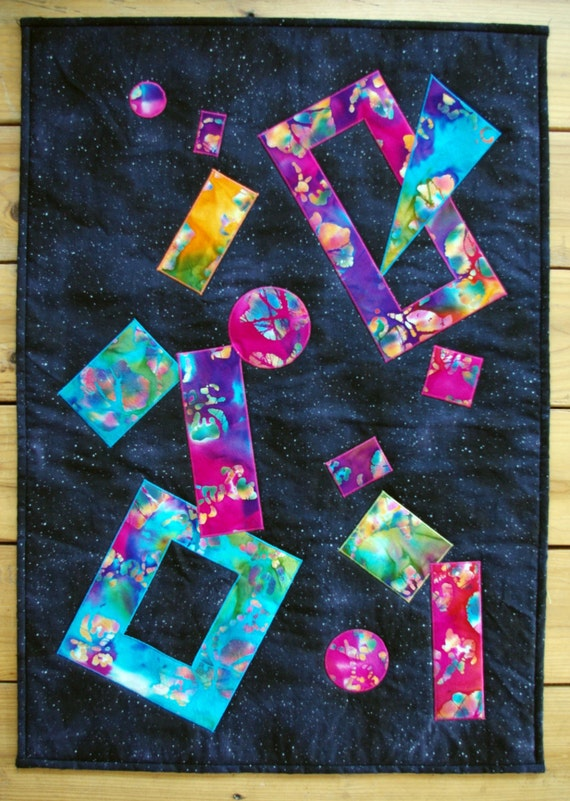 Outer space art quilt wallhanging shapes in space quiltsy for Outer space quilt
