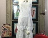 Bohemian dress edwardian slip white cotton dress Vintage dress antique undergarment