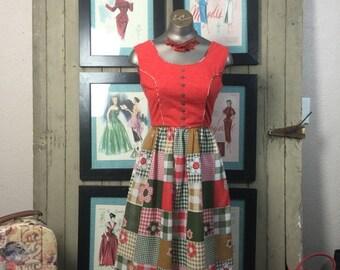 On sale 70s patchwork dress 1970s hippie dress size x small Vintage boho dress