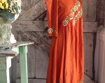 1970s tunic 70s dress festival dress size medium Vintage dress ethnic dress puff sleeve dress