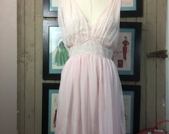 Fall sale 1950s nightgown pink nightie vintage lingerie pin up sheer nightgown 38 bust 50s lingerie vintage slip