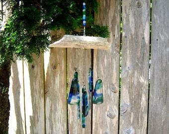 Blue and Green Glass Wind Chime, Glass Chimes, Glass Windchime, Ocean Colors, Blue Chime, Green and Blue Suncatcher, Oregon Driftwood