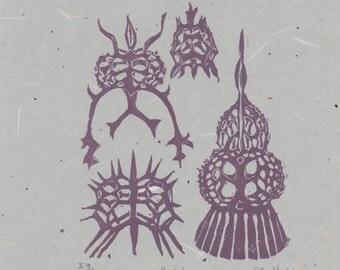 Radiolarians - Original linocut, plum on celadon - Radiolaria Microbiological Fossil Sea Creature Lino Block Print