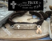 PE-1 Uterine Cancer Endometrial Cancer Leather Bracelet Personalized Gift For Him For Her Awareness Faith Greater Than Fear