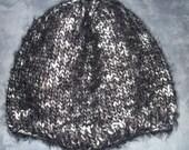 New Handmade Black-Grey Angel Hair Simply Cozy Knit Hat - Women's Medium - Large