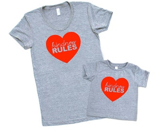 Mommy and Me Matching Set - Kindness Rules - Triblend Heather Grey with Red Print - Family Photos, Gift for Mom, Love, Peace, Happy, Heart