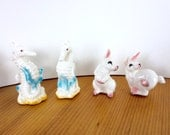 Vintage Salt & Pepper Shakers, White Rabbits and Sea Horses. Kitschy Little Bone China Animal Shaped Shakers from Japan.