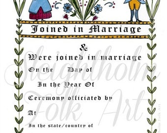 Fraktur Folk Art Wedding Certificate 11x14 americana marriage