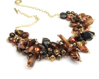 Fall Themed Jewelry, Chunky Beaded Necklace, Cluster Necklace, One of a Kind Jewelry, Gift For Her, Brown Bronze and Gold, Autumn Leaves
