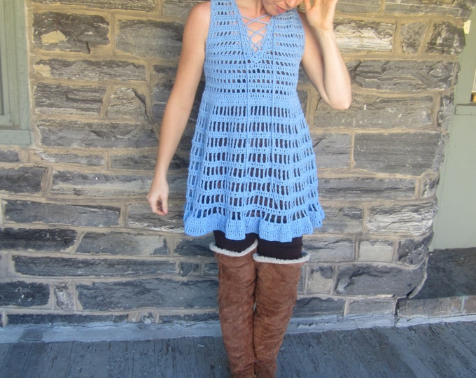 Crochet Dress, bohemian flowy tunic  corn flower Blue dress, beach cover up, festival clothing,  bohemian princess, gypsy dress, festivals